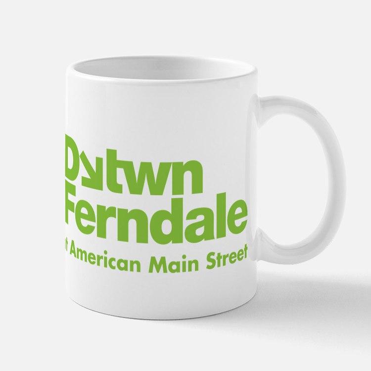 downtown ferndale lime green logo coffee mugs downtown