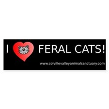 CVAS I Heart Feral Cats Sticker (Bumper)