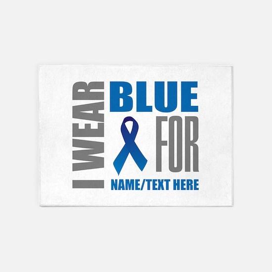 Blue Awareness Ribbon Customized 5'x7'Area Rug