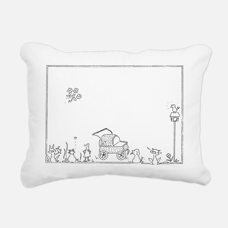 Baby Carriage/Animals Rectangular Canvas Pillow