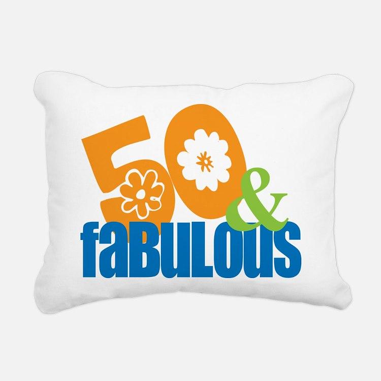 50th birthday & fabulous Rectangular Canvas Pillow
