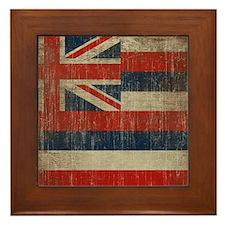 Vintage Hawaii Flag Framed Tile