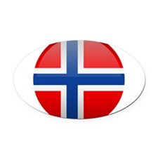 Norway Button Oval Car Magnet