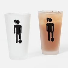 Female Soccer Player Drinking Glass