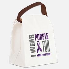 Purple Awareness Ribbon Customize Canvas Lunch Bag