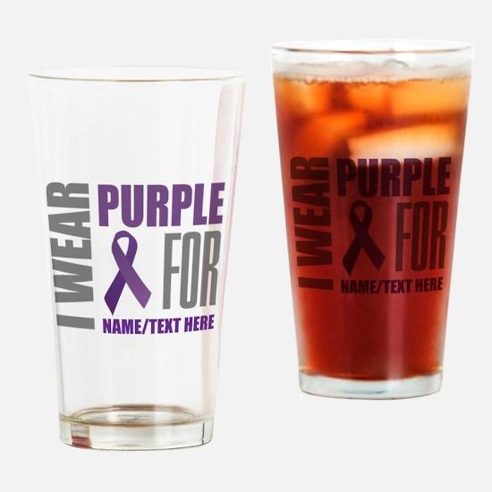 Purple Awareness Ribbon Customized Drinking Glass