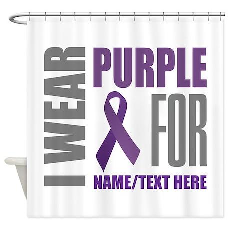 purple awareness ribbon customized shower curtain