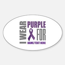 Purple Awareness Ribbon Customized Sticker (Oval)