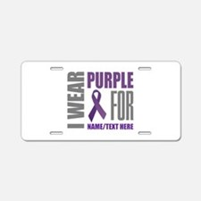 Purple Awareness Ribbon Cus Aluminum License Plate