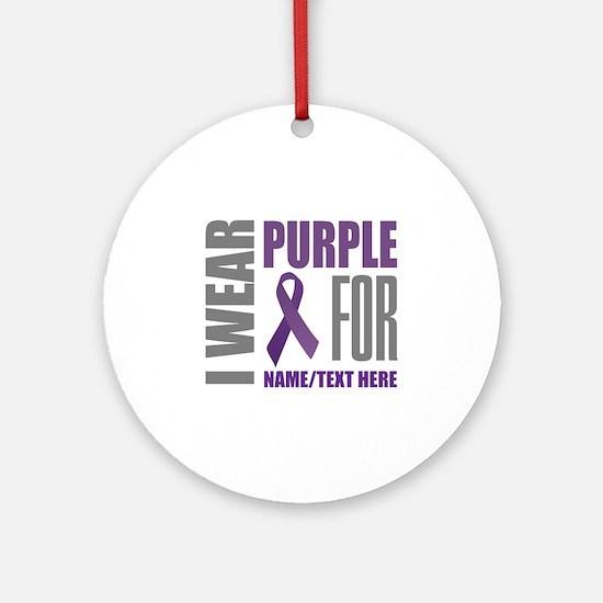 Purple Awareness Ribbon Customized Round Ornament