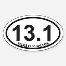 13.1 Miles Per Gallon Sticker (Oval)