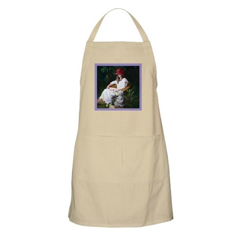 BBQ Apron with woman reading!
