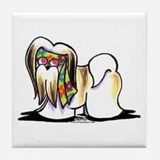Lhasa Apso Hippie Tile Coaster