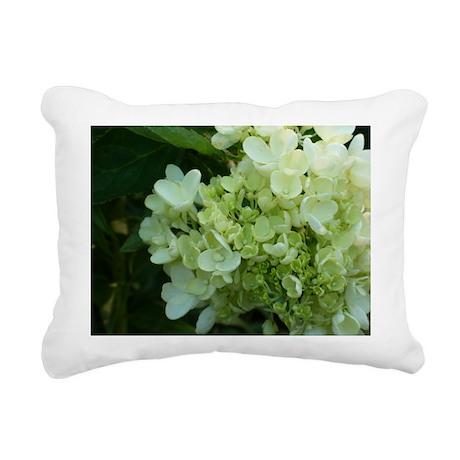 White Hydrangea Rectangular Canvas Pillow