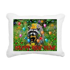 Raccoon New Year Rectangular Canvas Pillow