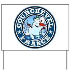 Courchevel Snowman Circle Yard Sign