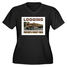 LOGGING Women's Plus Size V-Neck Dark T-Shirt