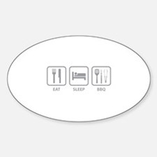 Eat Sleep BBQ Sticker (Oval)