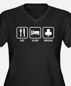 Eat Sleep Bridge Women's Plus Size V-Neck Dark T-S
