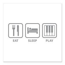 "Eat Sleep Play Square Car Magnet 3"" x 3"""