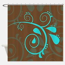 Elegant Blue Floral Shower Curtain