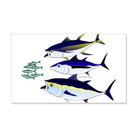 Three Tuna Chase Sardines fish 20x12 Wall Decal