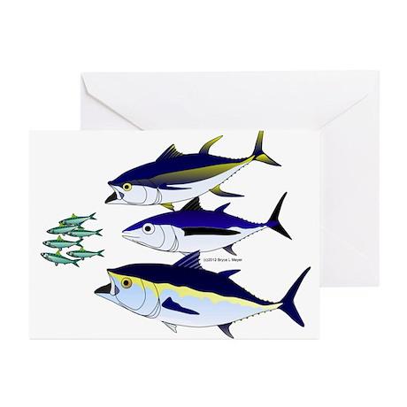 Three Tuna Chase Sardines fish Greeting Cards (Pk
