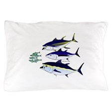 Three Tuna Chase Sardines fish Pillow Case