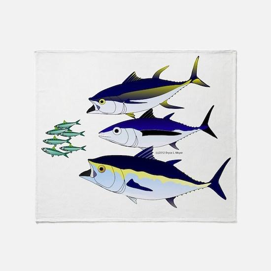 Three Tuna Chase Sardines fish Throw Blanket
