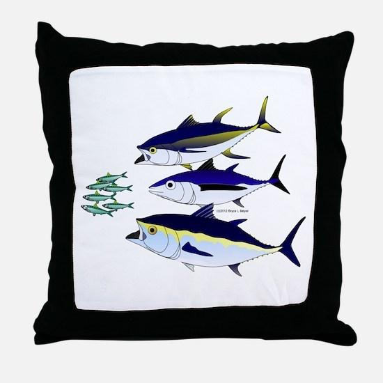 Three Tuna Chase Sardines fish Throw Pillow