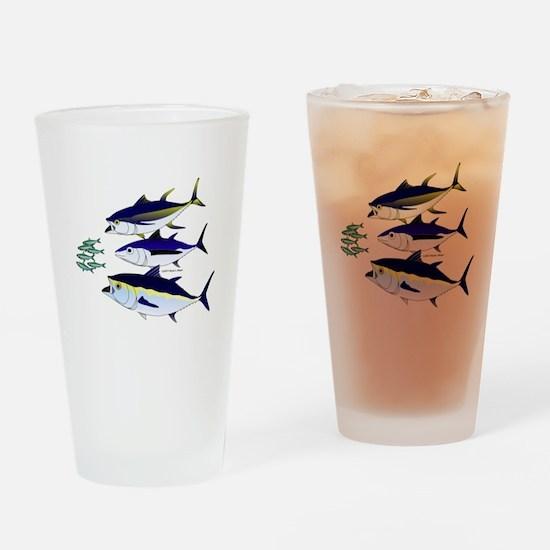 Three Tuna Chase Sardines fish Drinking Glass