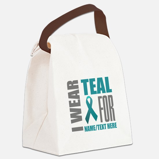 Teal Awareness Ribbon Customized Canvas Lunch Bag