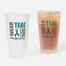 Teal Awareness Ribbon Customized Drinking Glass