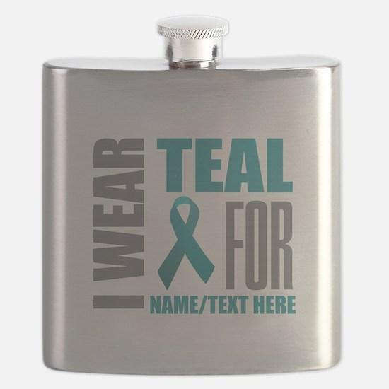 Teal Awareness Ribbon Customized Flask