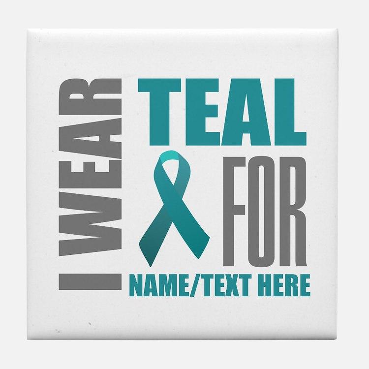 Teal Awareness Ribbon Customized Tile Coaster