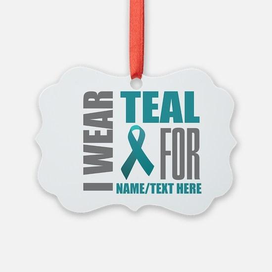Teal Awareness Ribbon Customized Ornament