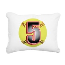 5-Softball Rectangular Canvas Pillow