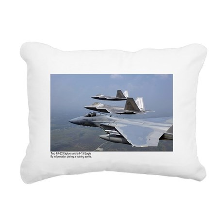F-22 Raptor F-15 Eagle Rectangular Canvas Pillow