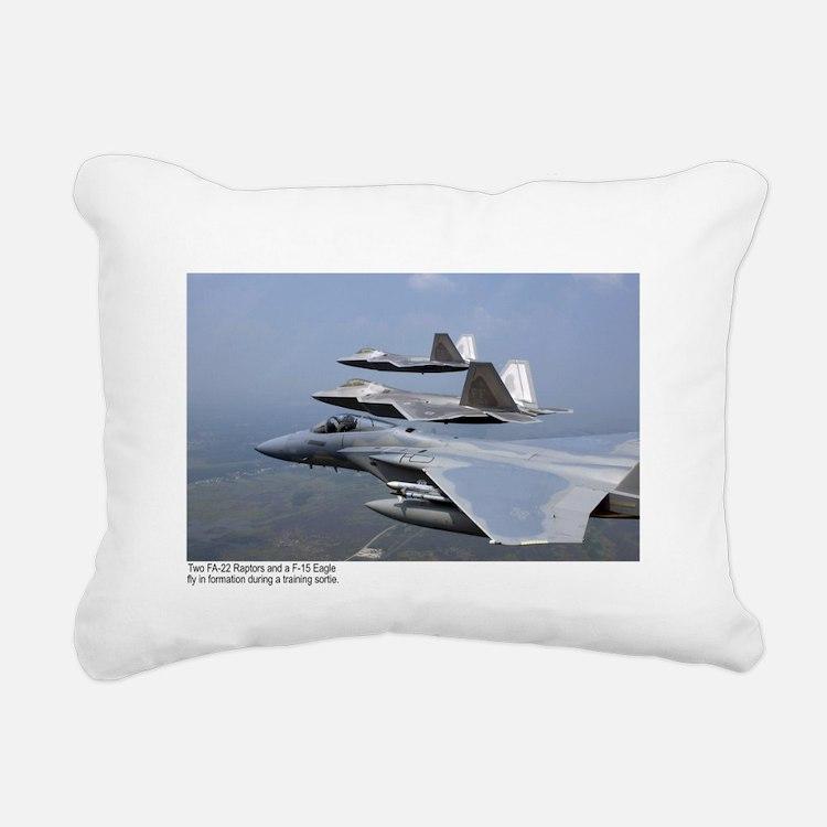 F-22 Raptor F-15 Eagle Rectangular Canvas Pillow