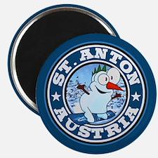 St. Anton Snowman Circle Magnet