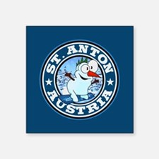 "St. Anton Snowman Circle Square Sticker 3"" x 3"""