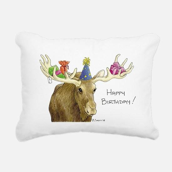 Birthday Moose Rectangular Canvas Pillow
