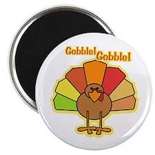 "Thanksgiving Turkey Cartoon Gobble 2.25"" Magnet (1"