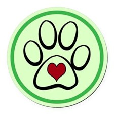 Heart Paw Print Round Car Magnet