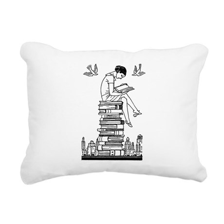 Girl reading atop books Rectangular Canvas Pillow