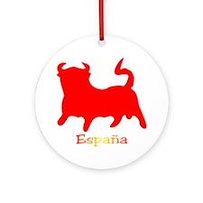 Red Spanish Bull Ornament (Round)