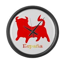 Red Spanish Bull Large Wall Clock