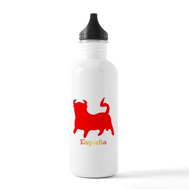 Water Bottle In Spanish: Red Spanish Bull Water Bottle By Spanishbull