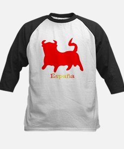 Red Spanish Bull Kids Baseball Jersey