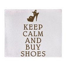KEEP CALM AND BUY SHOES BROWN.png Throw Blanket